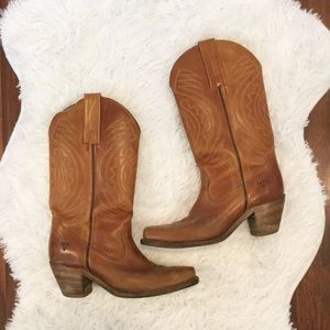 Frye Vintage Brown Leather Western Cowgirl Boots